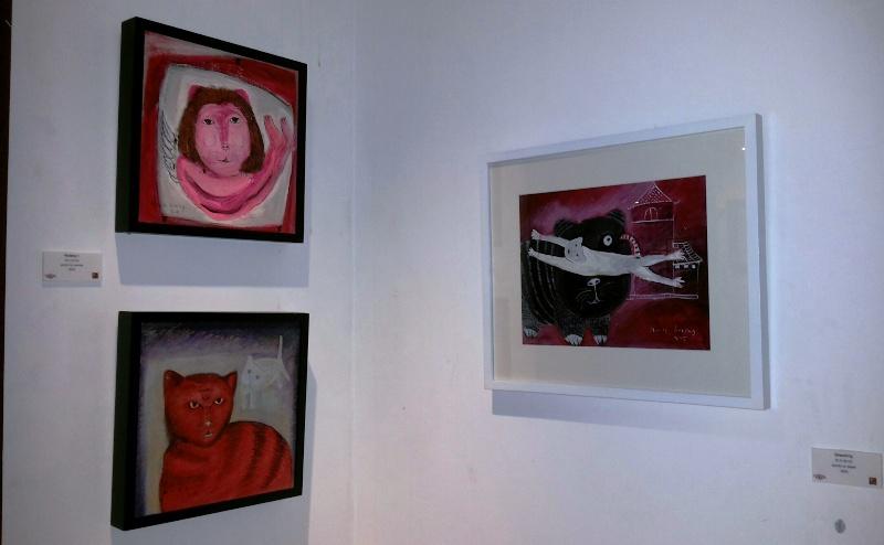 'Waiting 1' - 2013 (kiri atas); 'Sepasang Kucing' - 2005 (kiri bawah); 'Dreaming' - 2005 (kanan)