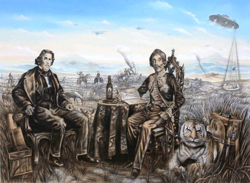 B. Dukan Wahyudi , 'Revolusi Sudah Mati Duduk Sama Rendah', Charcoal & Acrylic on canvas, 197cmX145cm, 2013