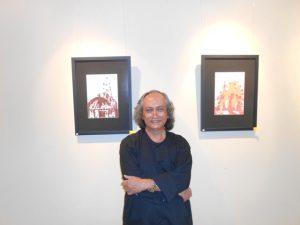 Romo Mudji Sutrisno di depan sketsanya