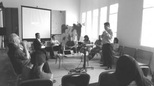 Dialog publik sesi satu (kiri-kanan: Adolf Heuken, Dolorosa Sinaga, Romo Mudji Sutrisno, Andra Matin, Nyoman Nuarta, Dr. Oei Hong Djien, Sunaryo, Sarwo Handayani, Agung Hujatnikajenong, Yusra Martunus, Lin Che Wei)