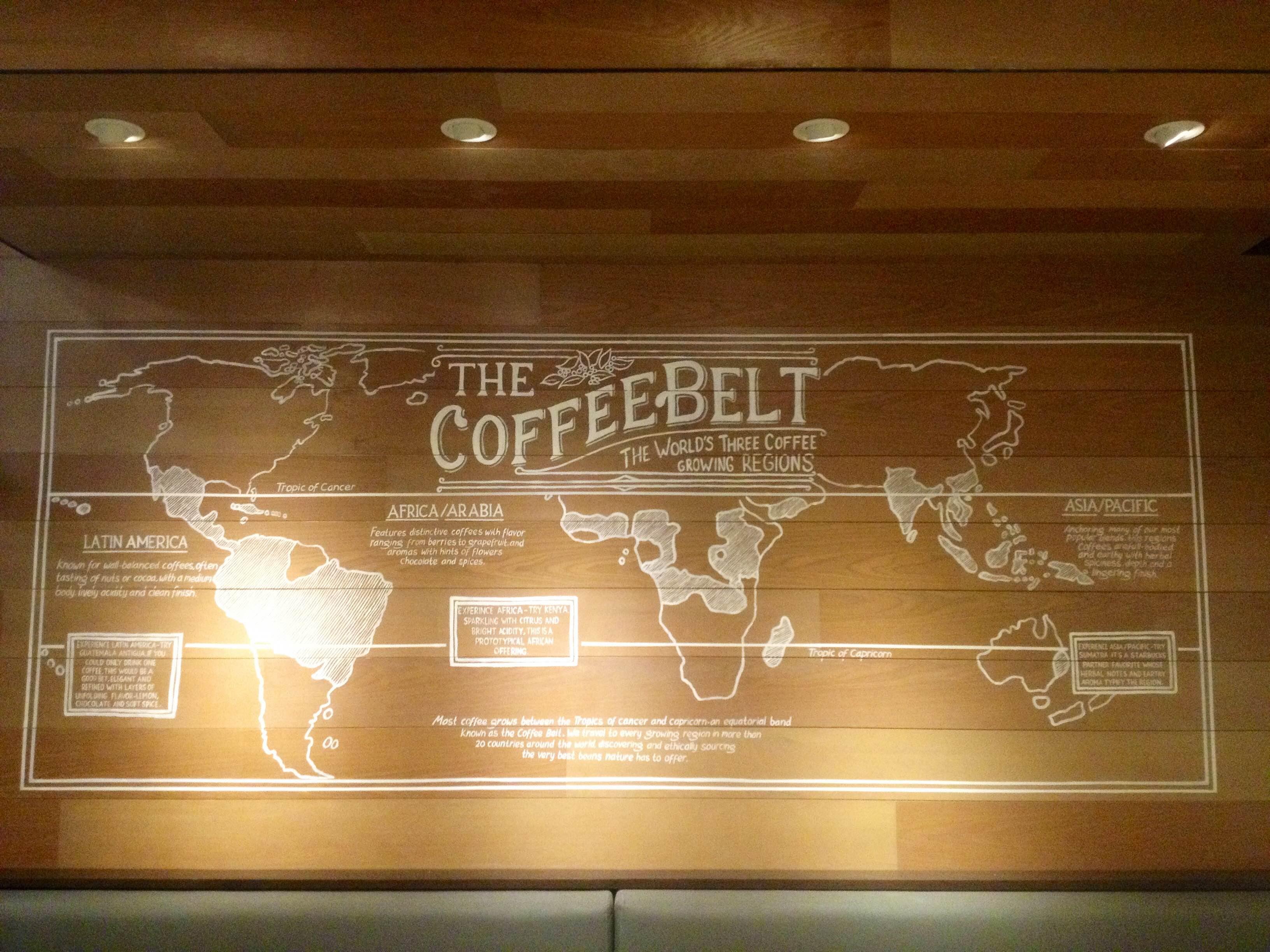 Salah satu mural Gigin Ginanjar di gerai Starbucks Indonesia bertema peta penyebaran biji kopi sedunia termasuk Indonesia.