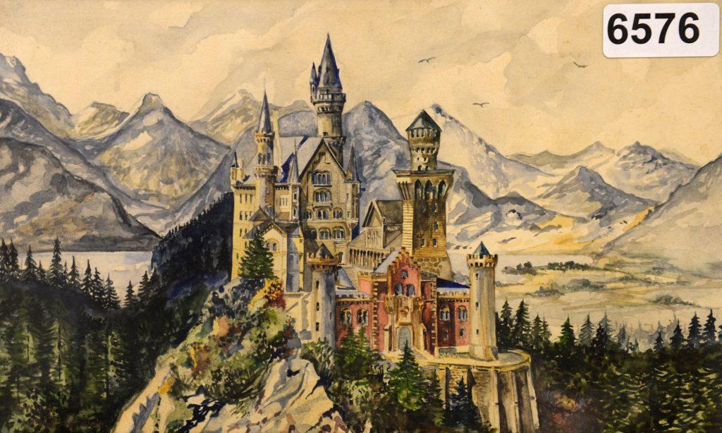 Lukisan kastil Neuschwanstein, Bavaria karya Hitler
