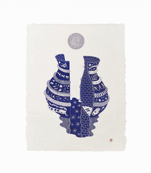 'Kundika #2' karya Agugn Prabowo dibuat dengan teknik cukil lino (source: jogjacontemporary.net)