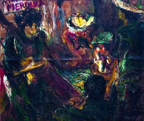 Laskar Rakyat Mengatur Siasat (1946) karya Affandi. (Foto: Koleksi Istana Negara)