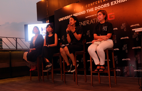 Sally Texania (kurator), Rega Ayundia (ART DEPT ID), Amalia Wirjono (ART DEPT ID), dan Yulia Maria (ARTOTEL Indonesia) saat konferensi pers
