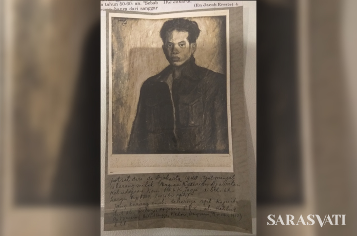 Tulisan tangan Nasjah Djamin yang menerangkan tentang lukisannya, Potret Diri, 1948. (Foto Silvia Galikano)