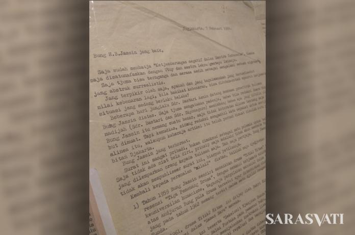 Surat Nasjah Djamin untuk H.B. Jassin.
