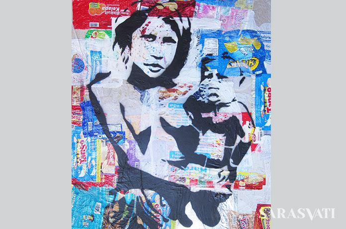 Made Bayak, Mother and Child, spray paint on plastic trash, 65x75 cm, 2013
