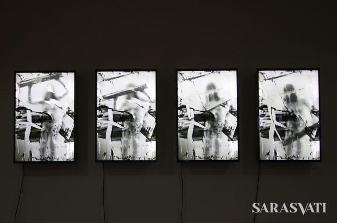 4 Panels of Gesture karya Erika Ernawan, 50 cm x 75 cm Digital Print on Perspex, LED 2017