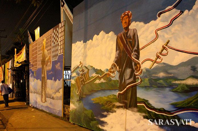 Mural di depan pintu masuk Taman Budaya Sumut mengangkat tema