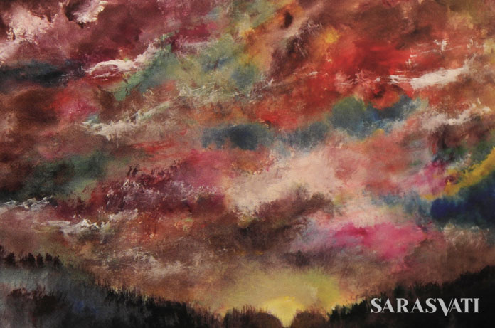 Vibrant Sky, Ink and color on rice paper, 68 x 136 cm