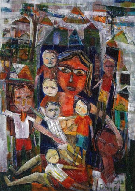 Tomy Faisal Alim, Banyak Anak, Banyak Rejeki, 2013, acrylic on canvas, 70 x 100 cm