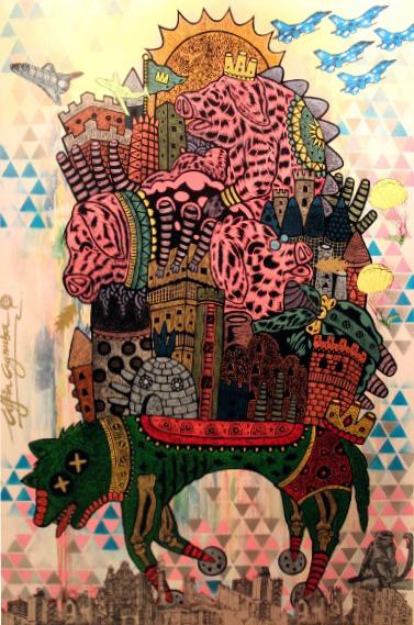 Naik-naik-ke-Puncak-Gedung-Tinggi-tinggi-Sekali-ukuran-180-x120-cm,-MDF-Cut-Handcoloring,-Silkscreen,-Stencil-on-Canvas-(2013)_small