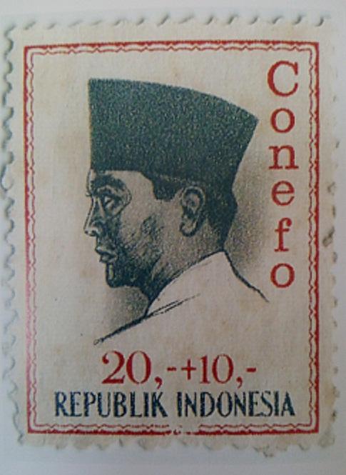 Lukisan profil Sukarno karya Basoeki Abdullah yang dijadikan perangko