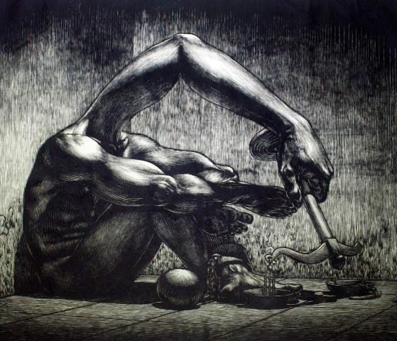 M. Muhlis Lugis, Penoda Keadilan, woodcut, 2013.