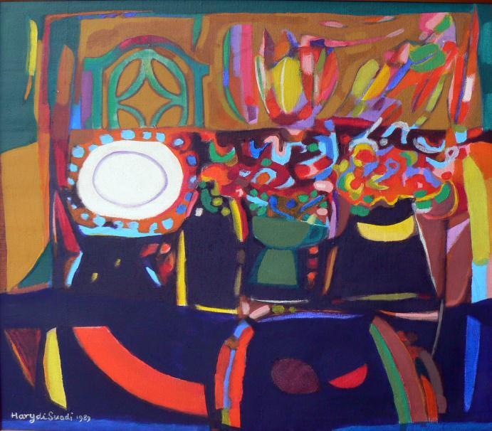 'Meja Makan' (acrylic on canvas, 50 X 60 cm) karya Haryadi Suadi
