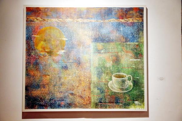 I Kadek Suardana, Secangkir Kopi Pagi, 130x150cm, acrylic on kanvas, 2016. (Foto: Jacky Rachmansyah)