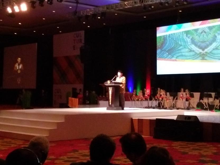 Muhadjir Effendy saat menyampaikan pidato di hari terakhir World Culture Forum 2016 (Photo: Rizaldy Yusuf)