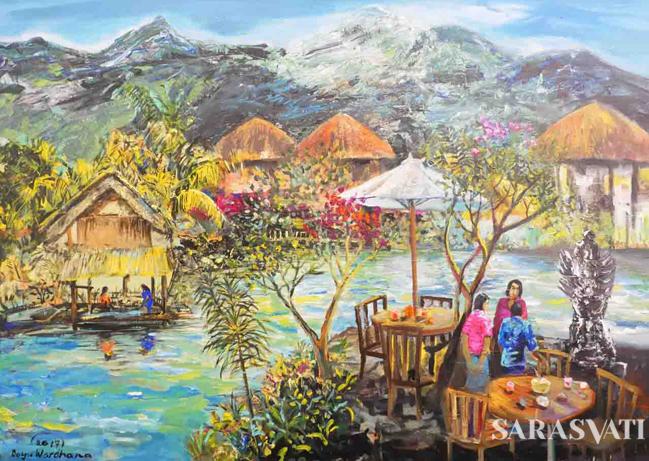 Tepi Danau Godean, Yogyakarta - Bayu Wardhana - 145x195cm - Acrylic on Canvas - 2017 - Sunrise Art Gallery 2. (Foto: Rizaldy Yusuf)