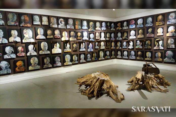 """Pameran tunggal Budi 'Ubrux', """"Indonesia"""", di gedung B Galeri Nasional Indonesia, Jakarta, 3-13 Agustus 2017. (Foto: Jacky Rachmansyah)"""