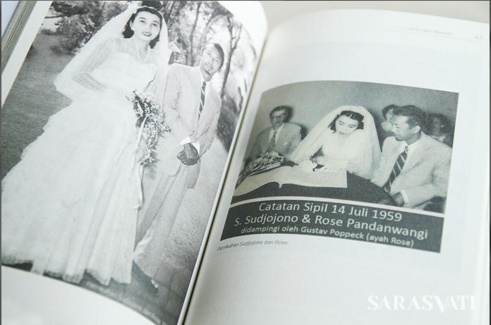Foto pernikahan Sudjojono dan Rose Pandanwangi dalam buku biografi Rose Pandanwangi. (Foto: Jacky Rachmansyah)
