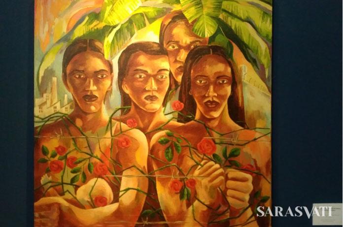 Para Pekerja Perempuan di Antara Pabrik dan Penjara karya Semsar Siahaan, Cat Minyak di atas kanvas 100 cm x 100 cm, 1982