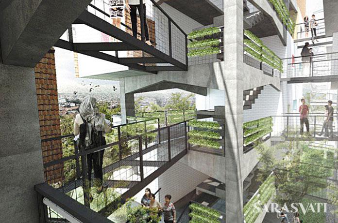 Gambar impresi berupa rendering 3 dimensi seperti ini mempunyai jarak dengan warga Kampung Pulo